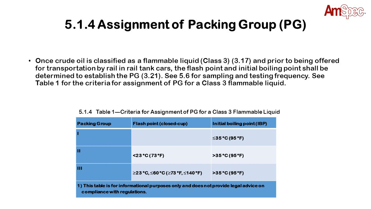 5.1.4 Assignment of Packing Group (PG) Once crude oil is classified as a flammable liquid (Class 3) (3.17) and prior to being offered for transportati