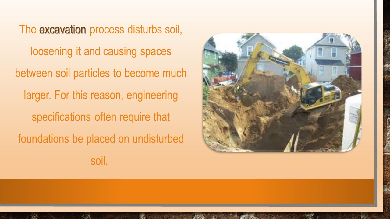 excavation The excavation process disturbs soil, loosening it and causing spaces between soil particles to become much larger. For this reason, engine