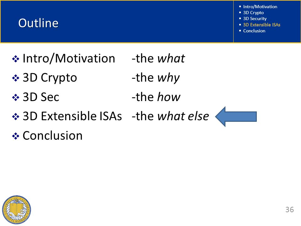  Intro/Motivation  3D Crypto  3D Security  3D Extensible ISAs  Conclusion 36 Outline  Intro/Motivation -the what  3D Crypto -the why  3D Sec -the how  3D Extensible ISAs -the what else  Conclusion 3D Extensible ISAs