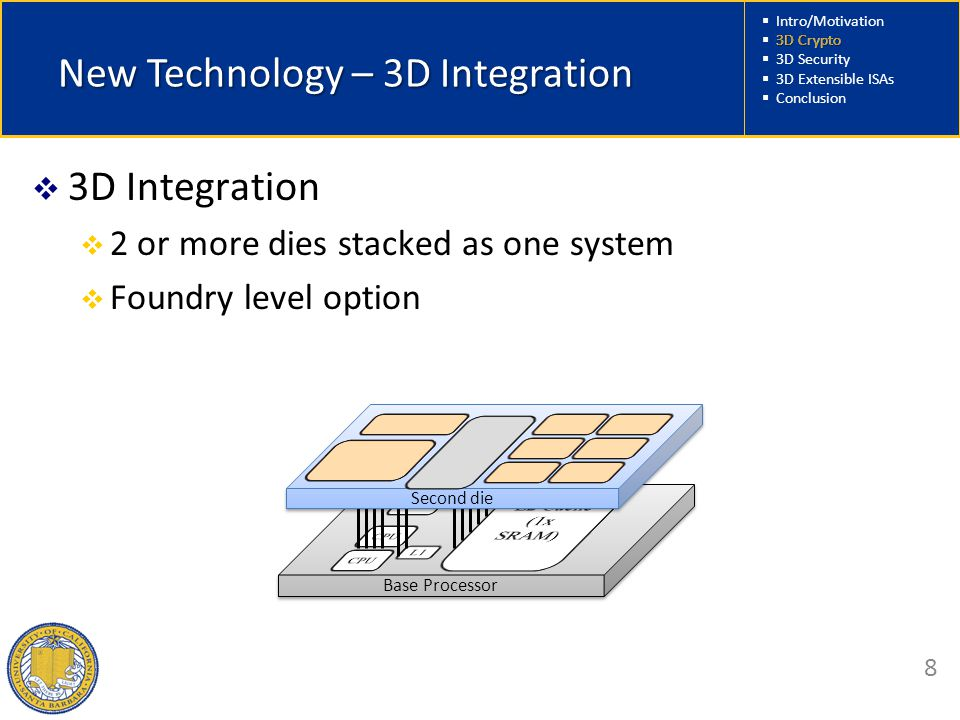  Intro/Motivation  3D Crypto  3D Security  3D Extensible ISAs  Conclusion 8 New Technology – 3D Integration  3D Integration  2 or more dies stacked as one system  Foundry level option Base Processor Second die 3D Crypto