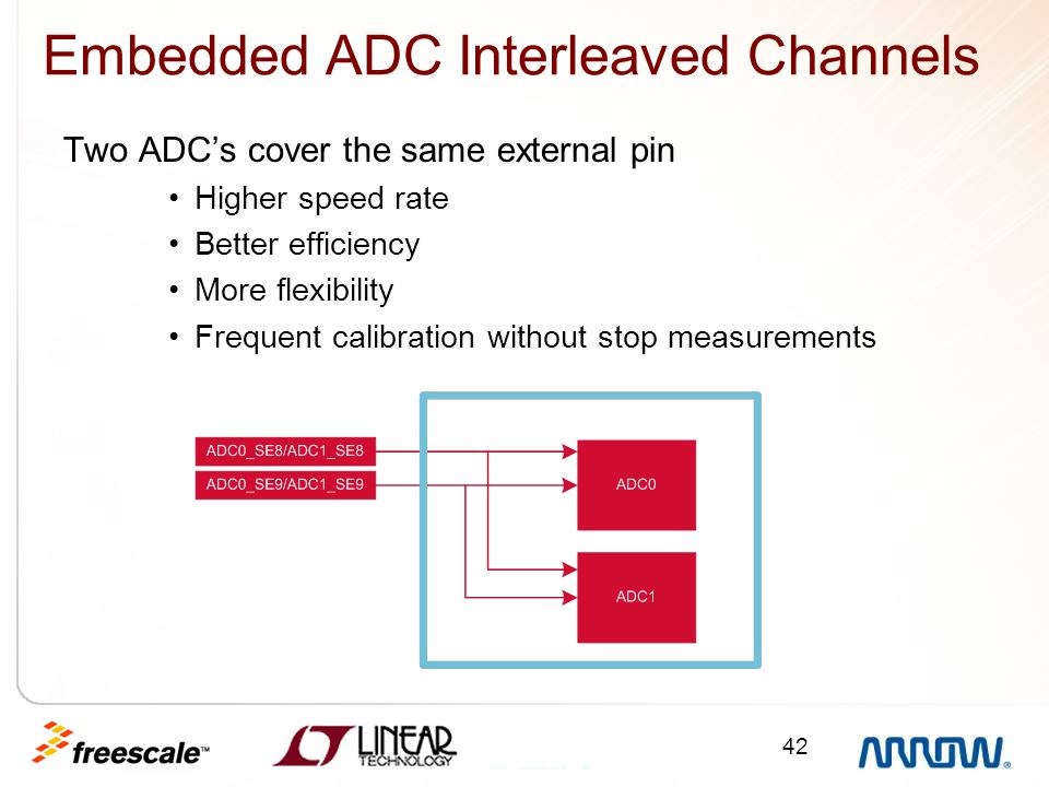 42 Embedded ADC Interleaved Channels Two ADC's cover the same external pin Higher speed rate Better efficiency More flexibility Frequent calibration w