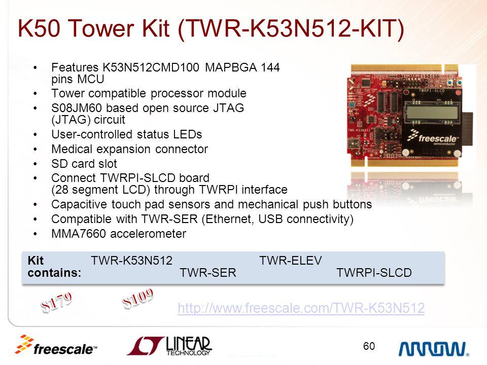 60 http://www.freescale.com/TWR-K53N512 Kit TWR-K53N512 TWR-ELEV contains: TWR-SER TWRPI-SLCD Kit TWR-K53N512 TWR-ELEV contains: TWR-SER TWRPI-SLCD K5
