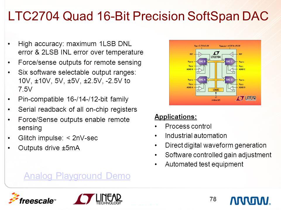 78 LTC2704 Quad 16-Bit Precision SoftSpan DAC High accuracy: maximum 1LSB DNL error & 2LSB INL error over temperature Force/sense outputs for remote s