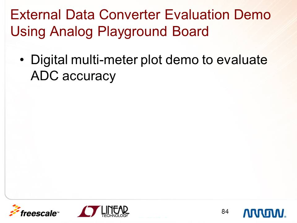 84 External Data Converter Evaluation Demo Using Analog Playground Board Digital multi-meter plot demo to evaluate ADC accuracy