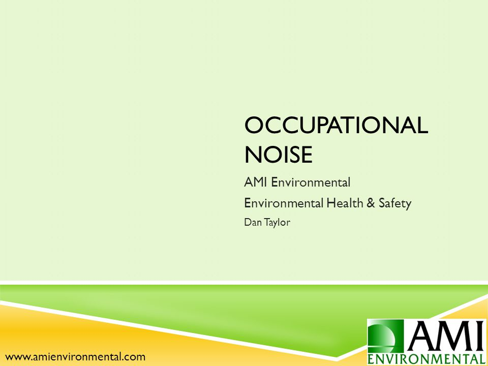 OCCUPATIONAL NOISE AMI Environmental Environmental Health & Safety Dan Taylor www.amienvironmental.com