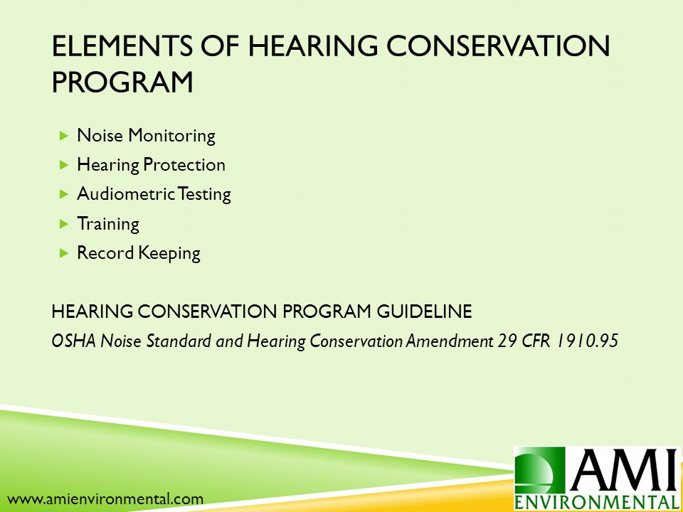 ELEMENTS OF HEARING CONSERVATION PROGRAM  Noise Monitoring  Hearing Protection  Audiometric Testing  Training  Record Keeping HEARING CONSERVATION PROGRAM GUIDELINE OSHA Noise Standard and Hearing Conservation Amendment 29 CFR 1910.95 www.amienvironmental.com