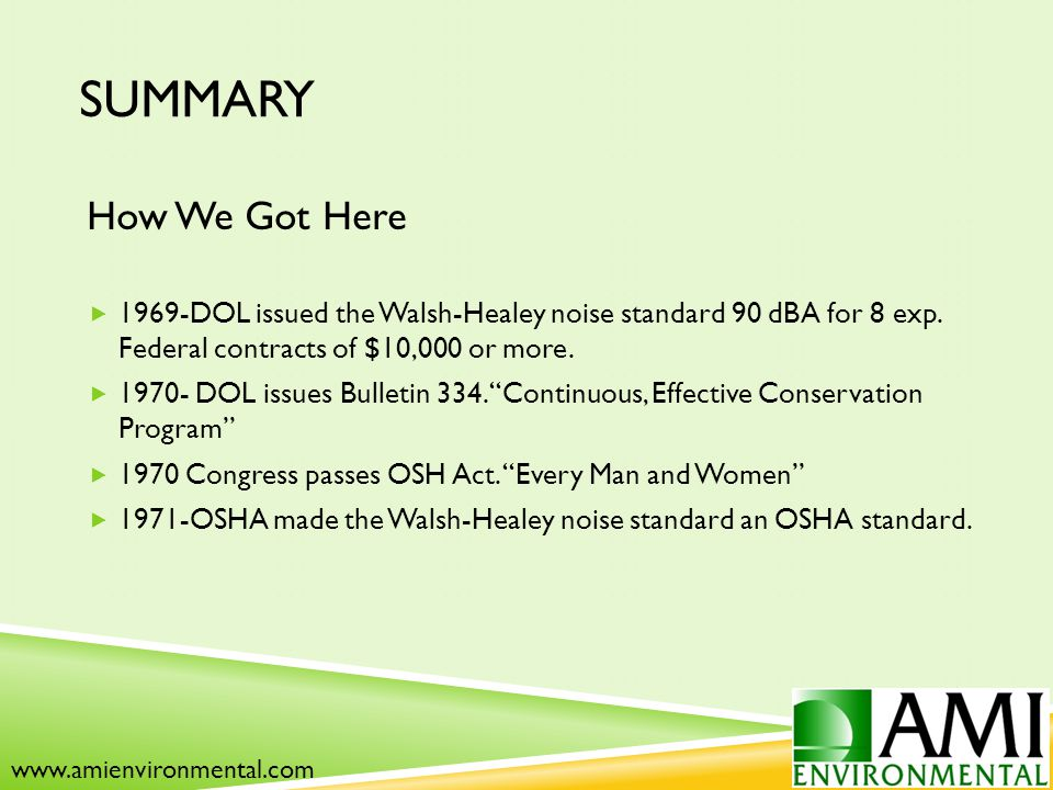 SUMMARY How We Got Here  1969-DOL issued the Walsh-Healey noise standard 90 dBA for 8 exp.