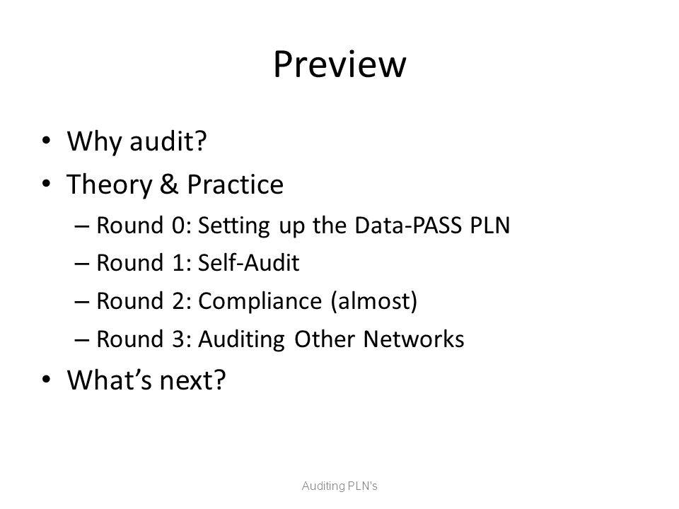Preview Why audit.