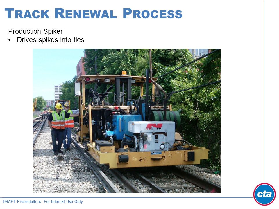DRAFT Presentation: For Internal Use Only T RACK R ENEWAL P ROCESS Production Spiker Drives spikes into ties