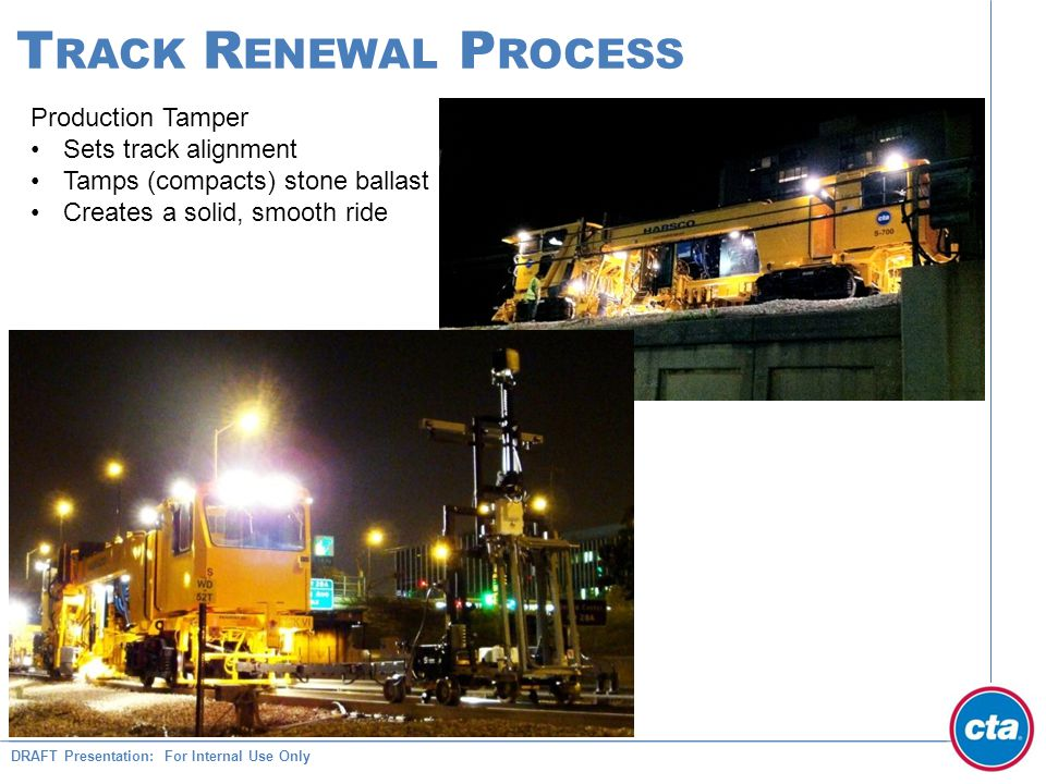 DRAFT Presentation: For Internal Use Only T RACK R ENEWAL P ROCESS Production Tamper Sets track alignment Tamps (compacts) stone ballast Creates a solid, smooth ride