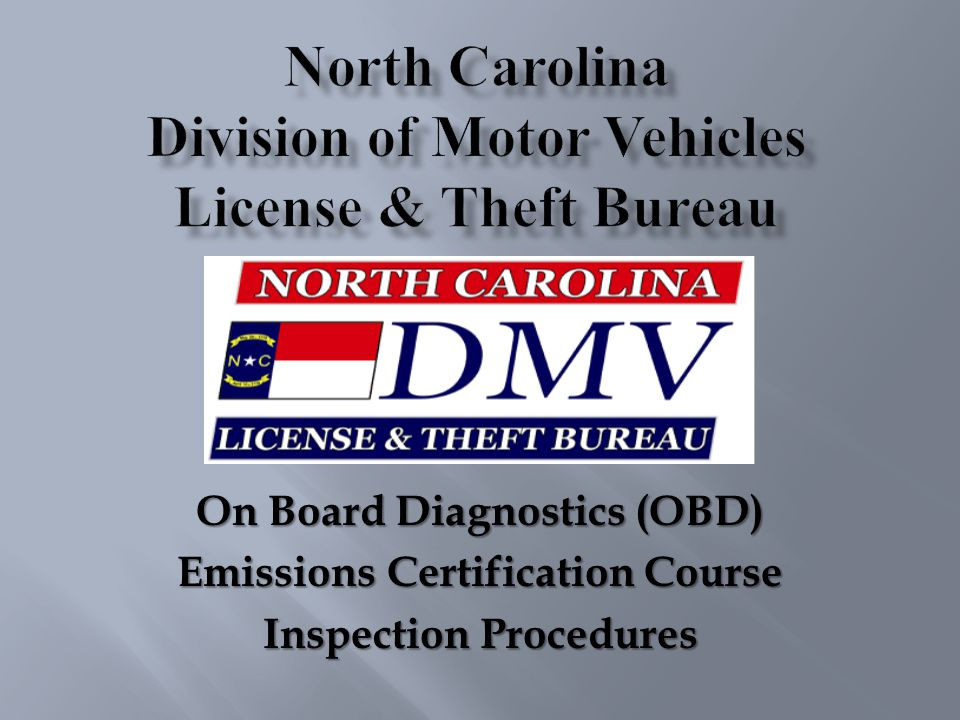 On Board Diagnostics (OBD) Emissions Certification Course Inspection Procedures