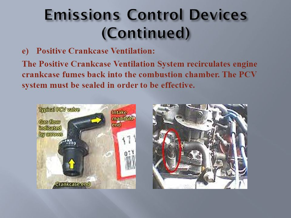 e)Positive Crankcase Ventilation: The Positive Crankcase Ventilation System recirculates engine crankcase fumes back into the combustion chamber.