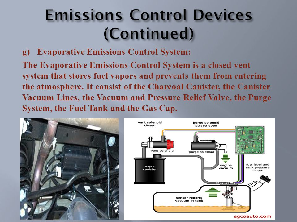 g)Evaporative Emissions Control System: The Evaporative Emissions Control System is a closed vent system that stores fuel vapors and prevents them from entering the atmosphere.