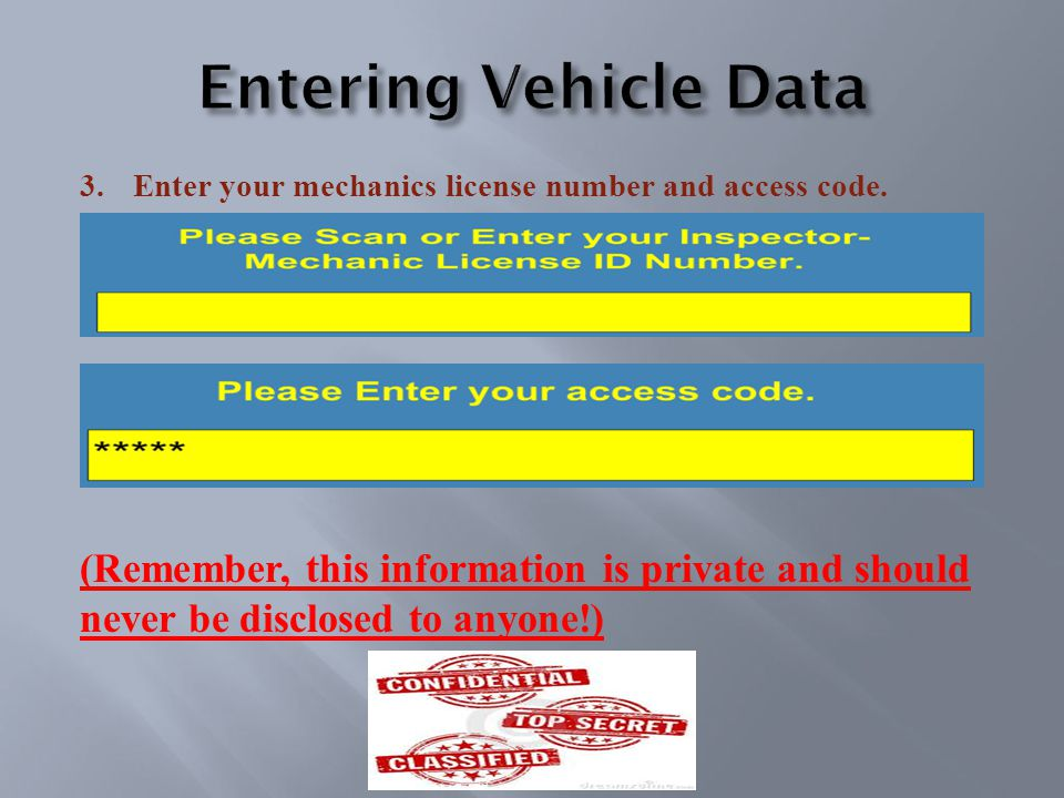 3.Enter your mechanics license number and access code.