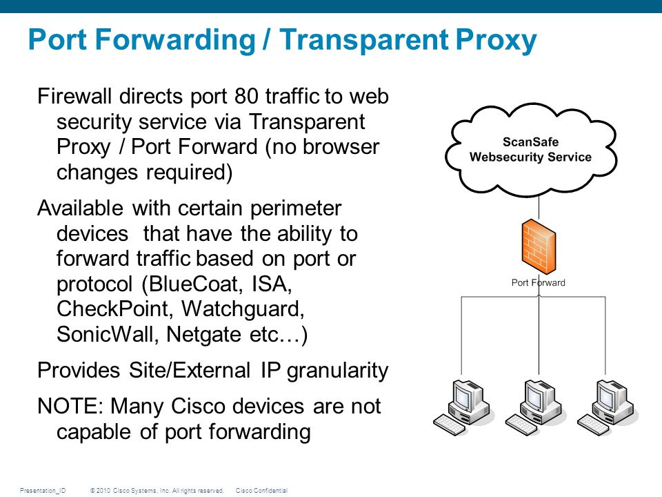 © 2010 Cisco Systems, Inc. All rights reserved. Cisco ConfidentialPresentation_ID Firewall directs port 80 traffic to web security service via Transpa