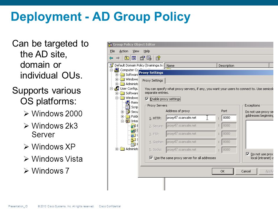© 2010 Cisco Systems, Inc. All rights reserved. Cisco ConfidentialPresentation_ID Deployment - AD Group Policy Can be targeted to the AD site, domain