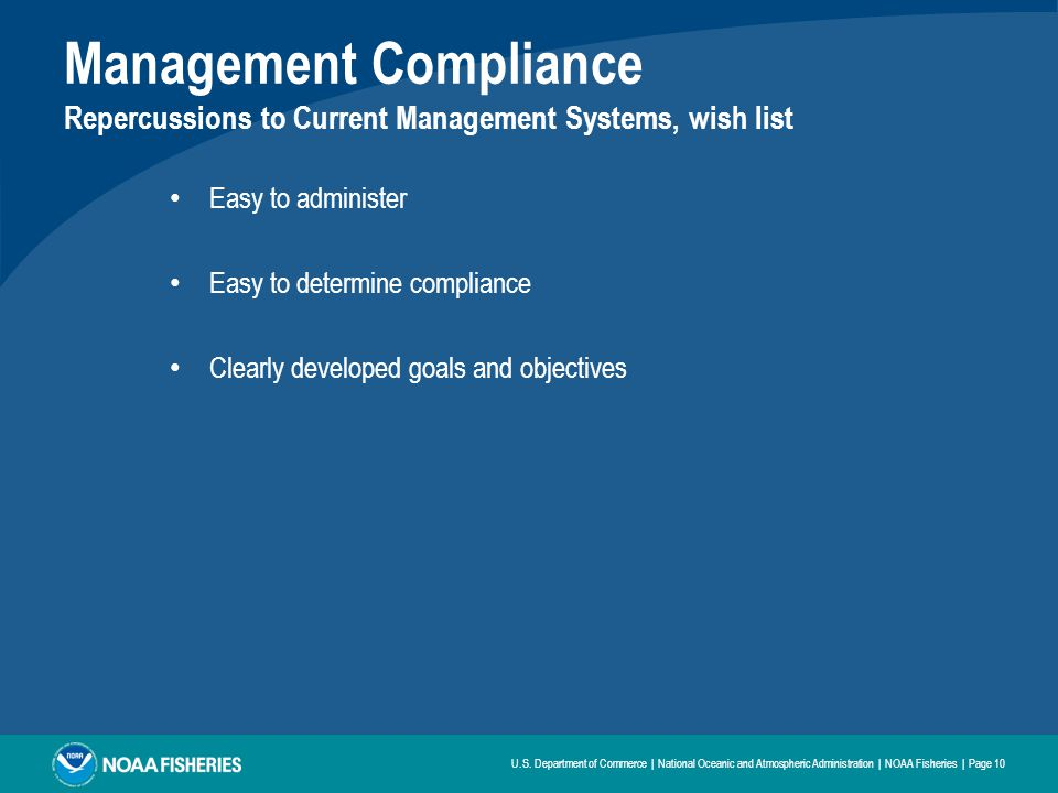 Management Compliance Repercussions to Current Management Systems, wish list Easy to administer Easy to determine compliance Clearly developed goals and objectives U.S.