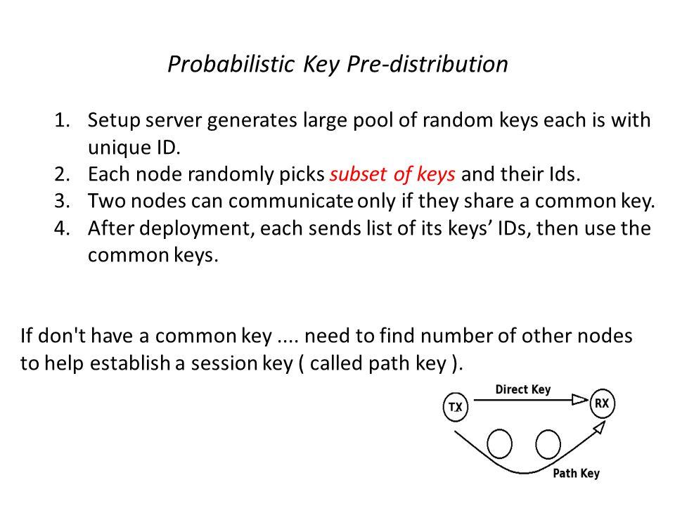 Probabilistic Key Pre-distribution 1.Setup server generates large pool of random keys each is with unique ID. 2.Each node randomly picks subset of key