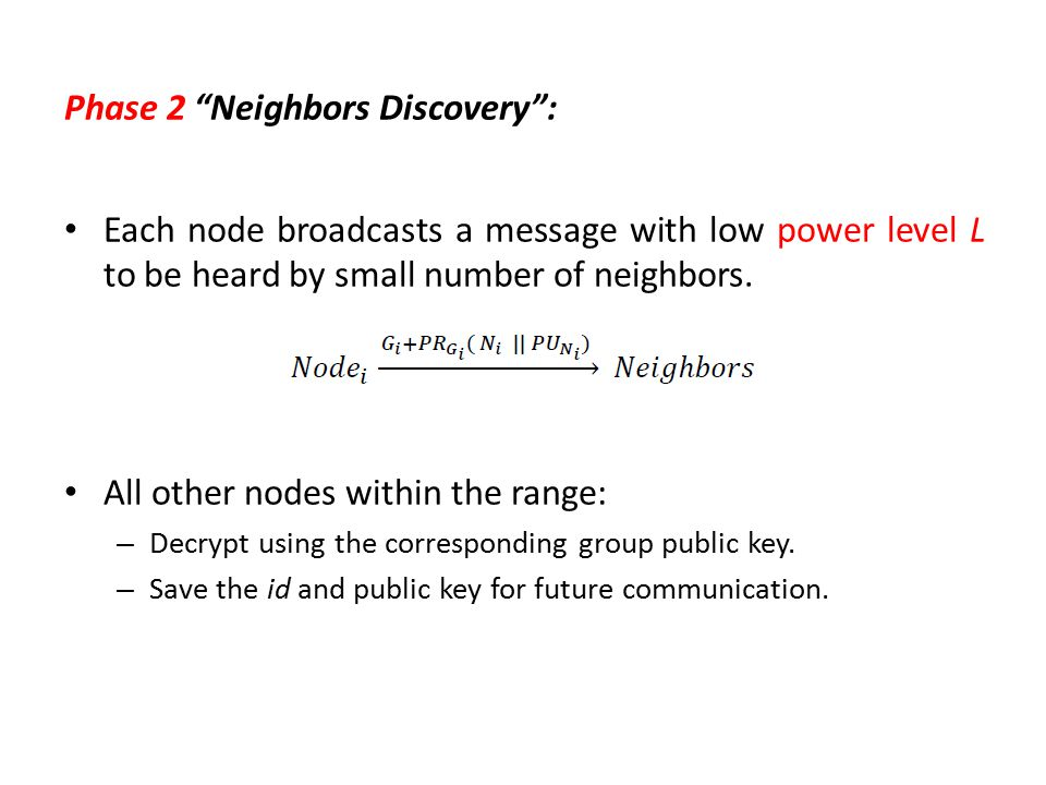 """Phase 2 """"Neighbors Discovery"""": Each node broadcasts a message with low power level L to be heard by small number of neighbors. All other nodes within"""