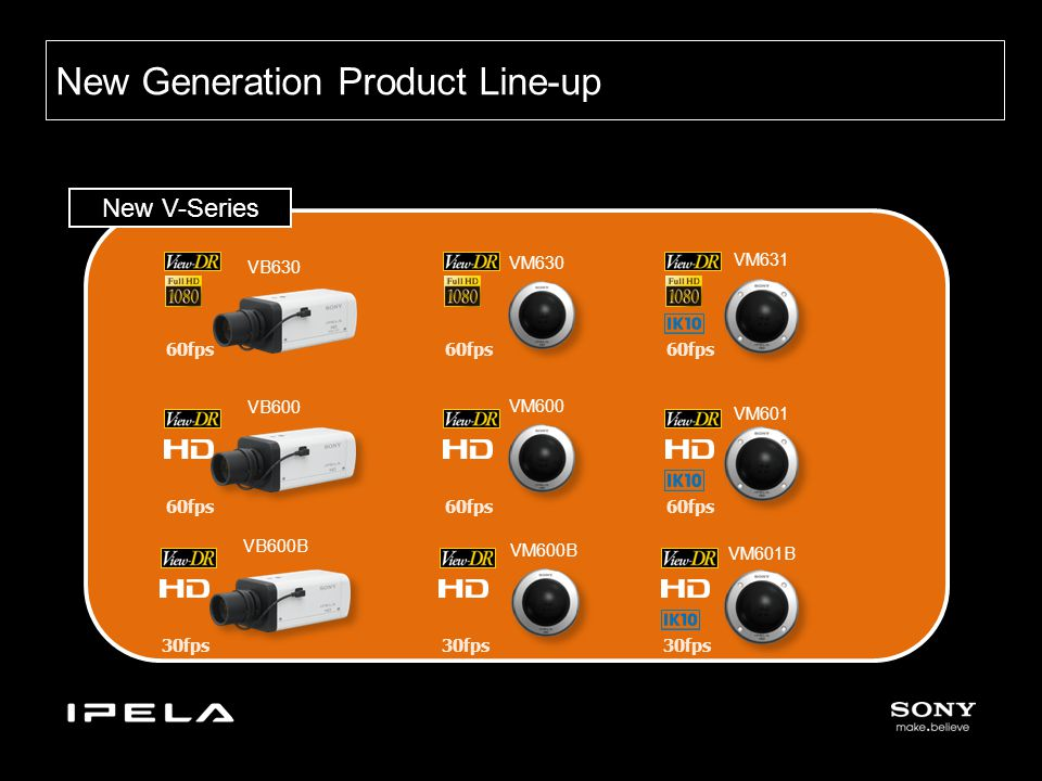 New Generation Product Line-up New V-Series VB600 VB630 VB600B VM601B VM600B VM601 VM600 VM631 VM630 60fps 30fps 60fps 30fps 60fps 30fps