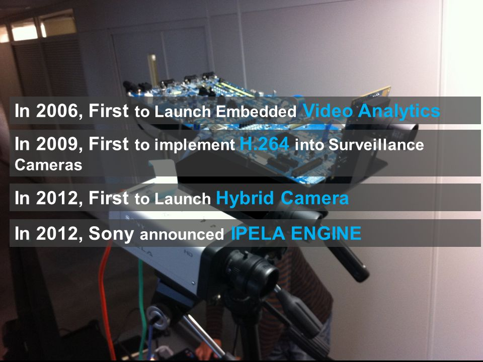 In 2012, First to Launch Hybrid Camera In 2006, First to Launch Embedded Video Analytics In 2009, First to implement H.264 into Surveillance Cameras In 2012, Sony announced IPELA ENGINE