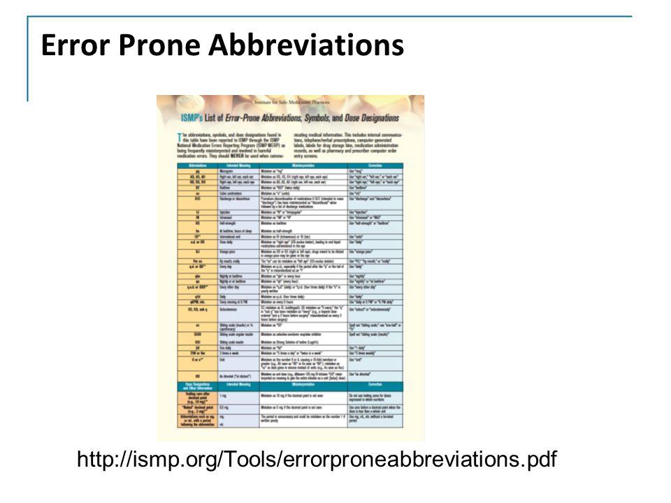 Error Prone Abbreviations http://ismp.org/Tools/errorproneabbreviations.pdf
