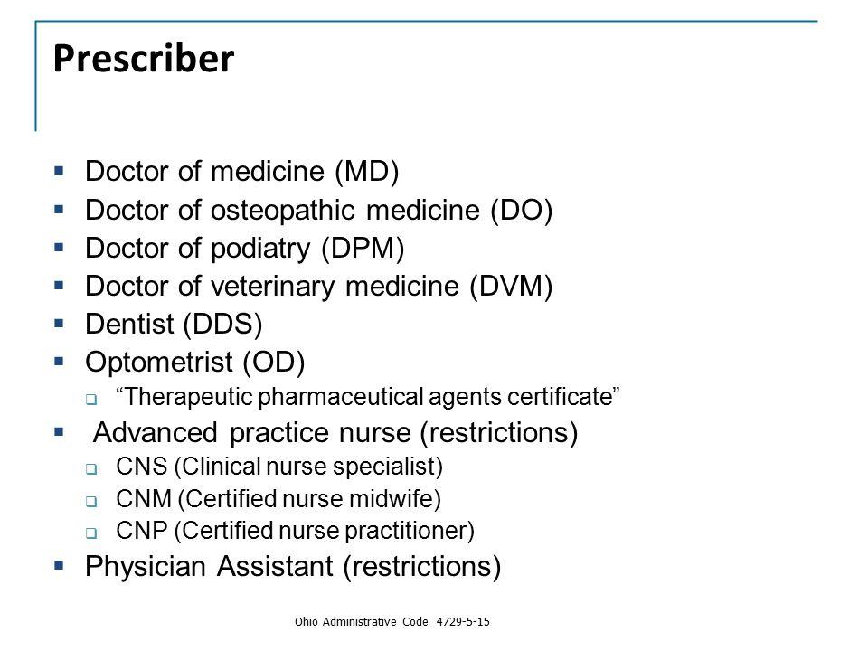 Prescriber  Doctor of medicine (MD)  Doctor of osteopathic medicine (DO)  Doctor of podiatry (DPM)  Doctor of veterinary medicine (DVM)  Dentist