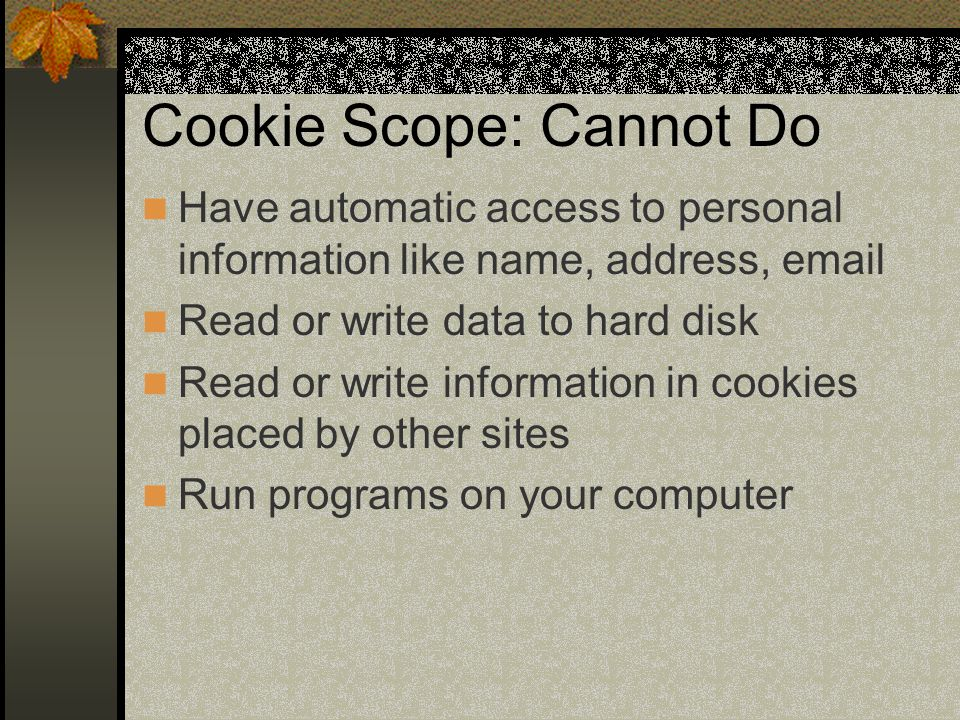 Cookie Scope: Cannot Do Have automatic access to personal information like name, address, email Read or write data to hard disk Read or write information in cookies placed by other sites Run programs on your computer