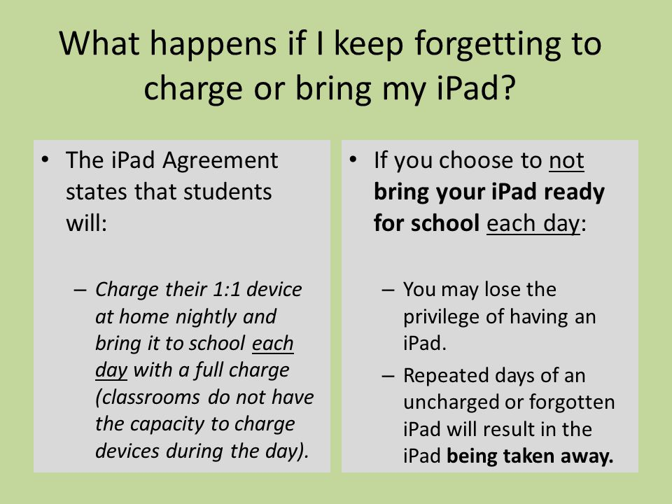 What happens if I keep forgetting to charge or bring my iPad.
