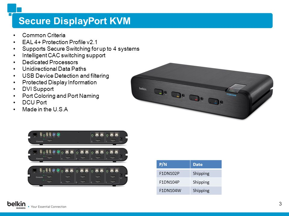 Secure DisplayPort KVM 3 Common Criteria EAL 4+ Protection Profile v2.1 Supports Secure Switching for up to 4 systems Intelligent CAC switching support Dedicated Processors Unidirectional Data Paths USB Device Detection and filtering Protected Display Information DVI Support Port Coloring and Port Naming DCU Port Made in the U.S.A P/NDate F1DN102PShipping F1DN104PShipping F1DN104WShipping