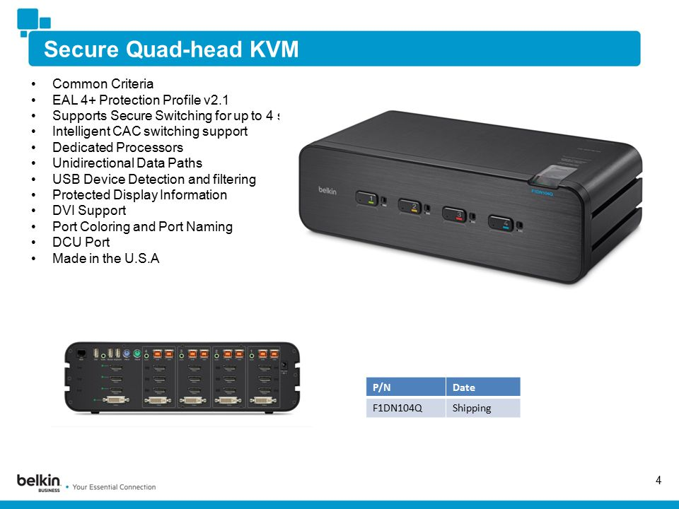 Secure Quad-head KVM 4 Common Criteria EAL 4+ Protection Profile v2.1 Supports Secure Switching for up to 4 systems and up to 4 displays Intelligent CAC switching support Dedicated Processors Unidirectional Data Paths USB Device Detection and filtering Protected Display Information DVI Support Port Coloring and Port Naming DCU Port Made in the U.S.A P/NDate F1DN104QShipping