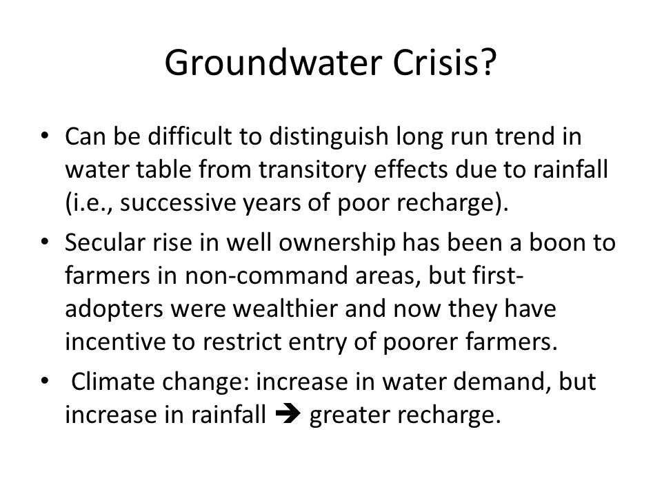 Groundwater Crisis.