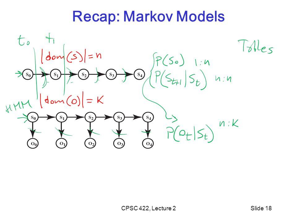Slide 18 Recap: Markov Models CPSC 422, Lecture 2
