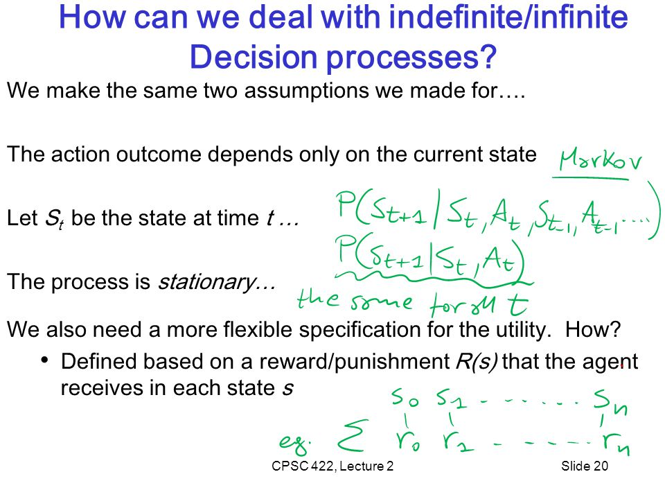 Slide 20 How can we deal with indefinite/infinite Decision processes.