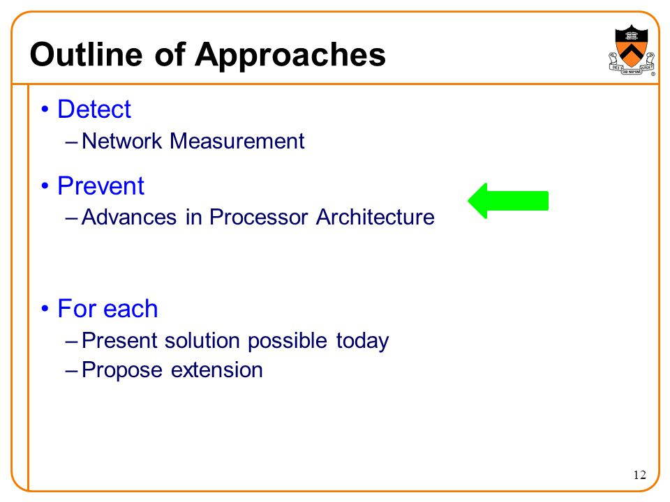 Outline of Approaches Detect –Network Measurement Prevent –Advances in Processor Architecture For each –Present solution possible today –Propose exten