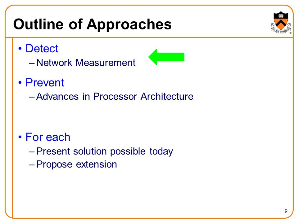 Outline of Approaches Detect –Network Measurement Prevent –Advances in Processor Architecture For each –Present solution possible today –Propose extension 9
