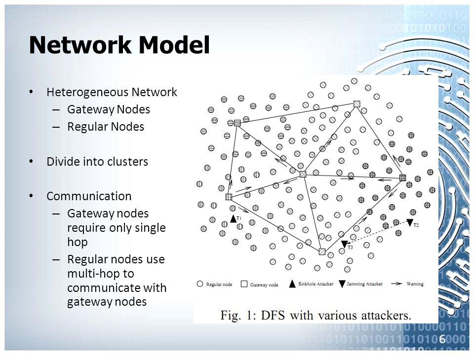 Network Model Heterogeneous Network – Gateway Nodes – Regular Nodes Divide into clusters Communication – Gateway nodes require only single hop – Regular nodes use multi-hop to communicate with gateway nodes 6