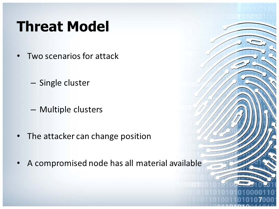 Threat Model Two scenarios for attack – Single cluster – Multiple clusters The attacker can change position A compromised node has all material availa
