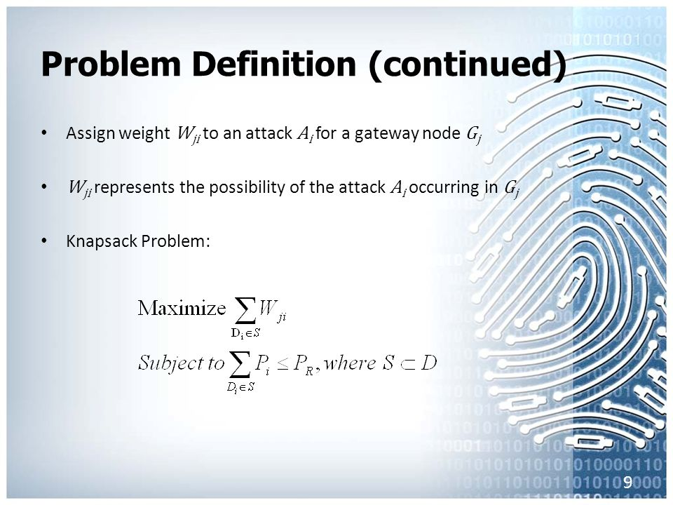 Problem Definition (continued) Assign weight W ji to an attack A i for a gateway node G j W ji represents the possibility of the attack A i occurring