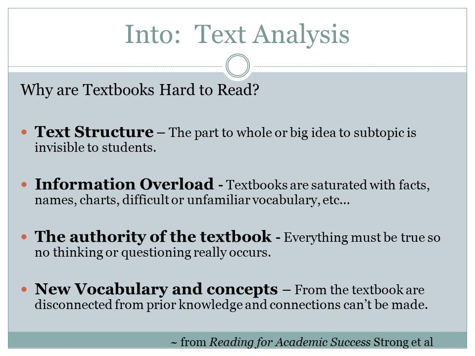 Into: Text Analysis Why are Textbooks Hard to Read.