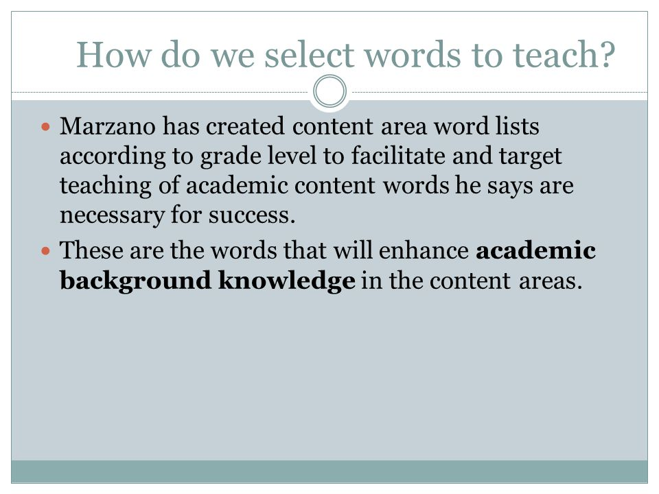 How do we select words to teach.