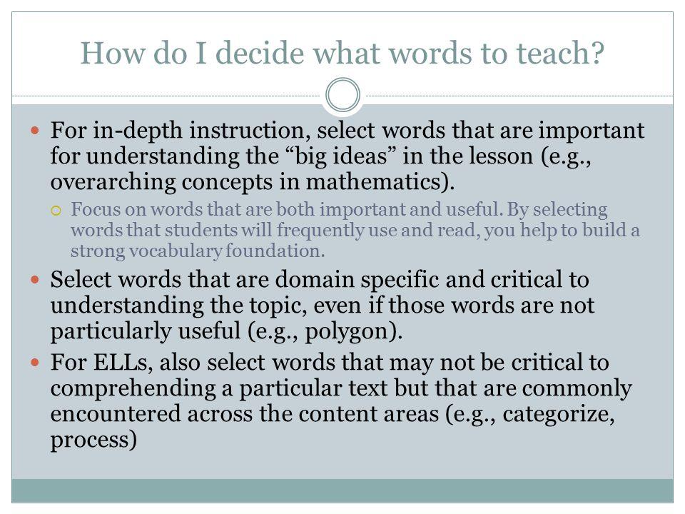 How do I decide what words to teach.