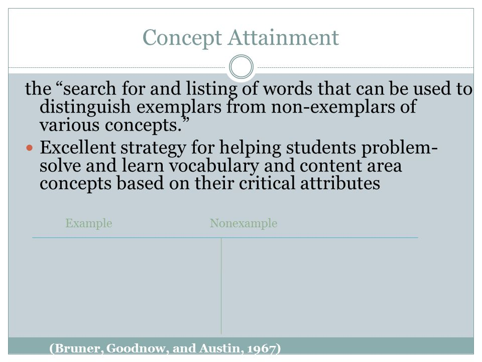 Concept Attainment the search for and listing of words that can be used to distinguish exemplars from non-exemplars of various concepts. Excellent strategy for helping students problem- solve and learn vocabulary and content area concepts based on their critical attributes (Bruner, Goodnow, and Austin, 1967) ExampleNonexample