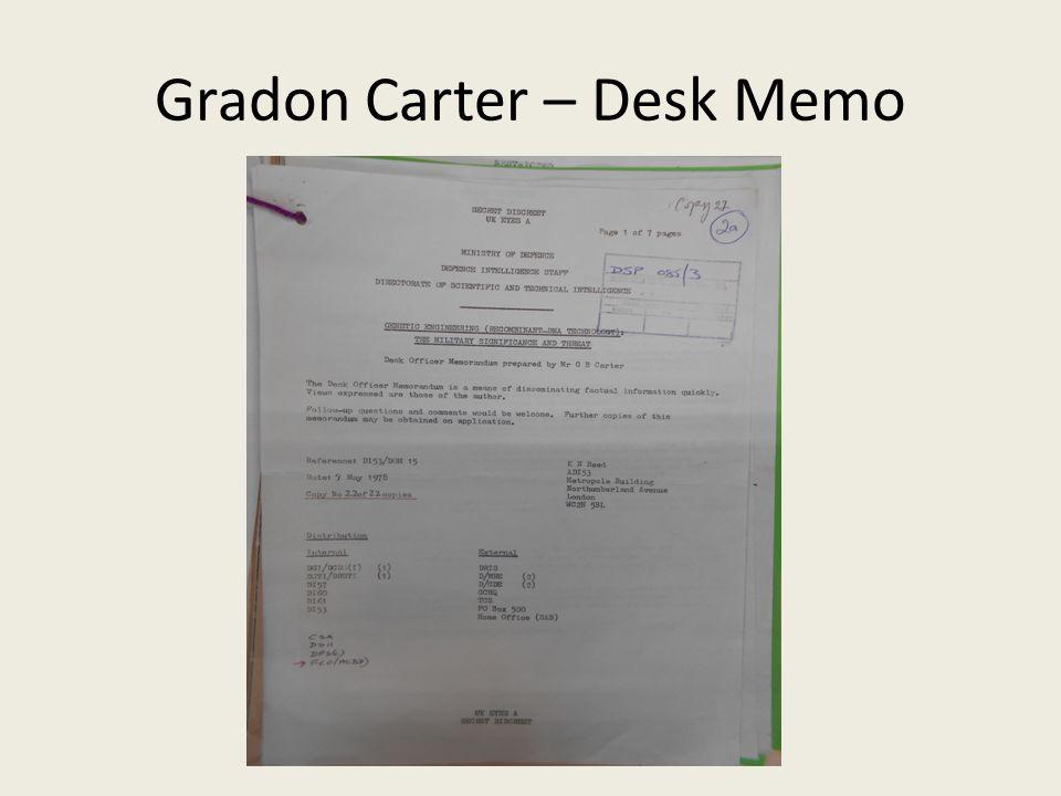 Gradon Carter – Desk Memo