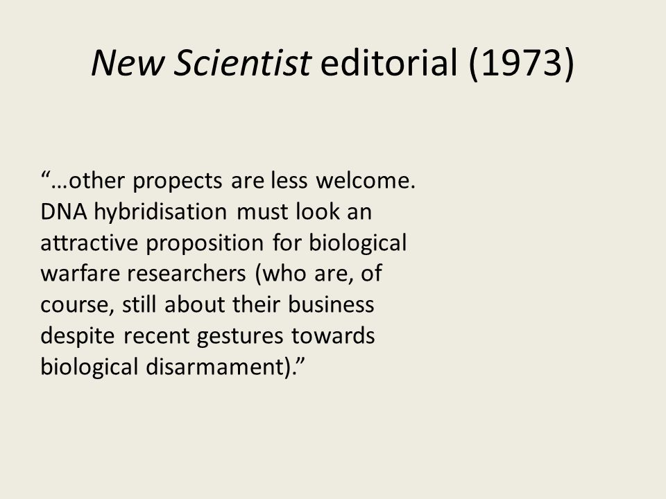 New Scientist editorial (1973) …other propects are less welcome.