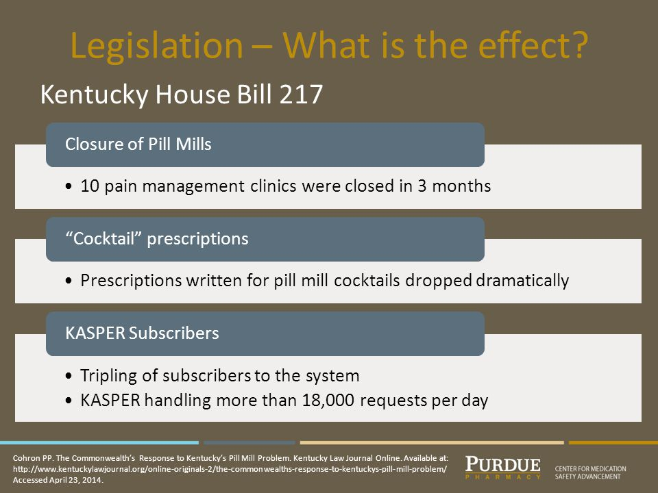 Legislation – What is the effect.Kentucky House Bill 217 Cohron PP.