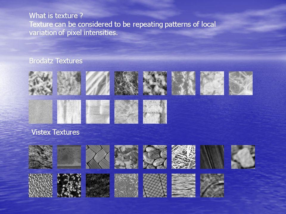 Brodatz Textures Vistex Textures What is texture .