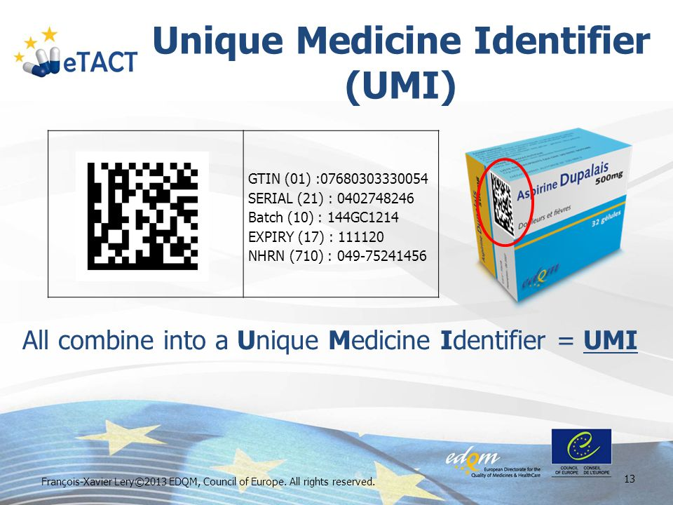 Unique Medicine Identifier (UMI) François-Xavier Lery©2013 EDQM, Council of Europe. All rights reserved. 13 All combine into a Unique Medicine Identif
