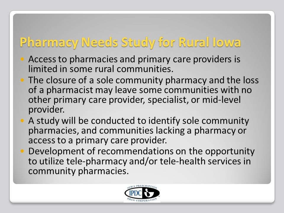 Pharmacy Needs Study for Rural Iowa Review of existing research examining pharmacy access and primary care access in rural Iowa communities.
