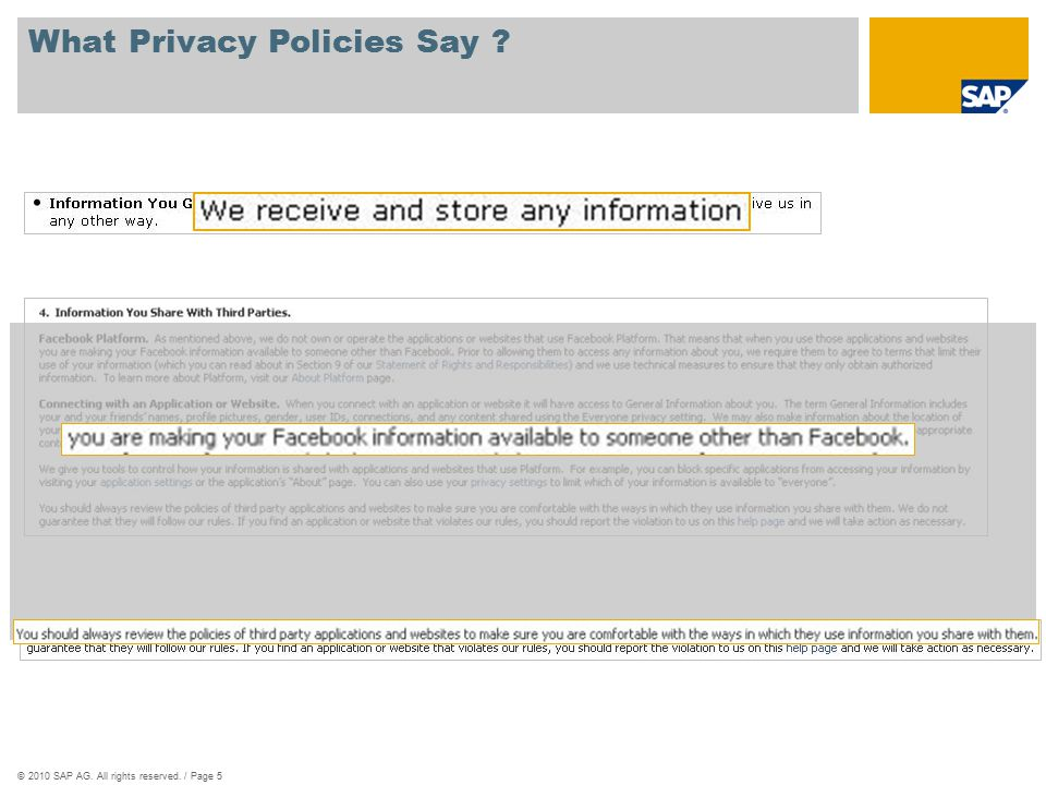 ©2010 SAP AG. All rights reserved. / Page 5 What Privacy Policies Say ?